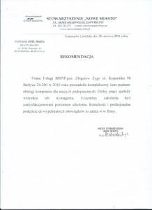 """Rekomendacja Stowarzyszenia """"Nowe Miasto"""" z Bełżyc"""