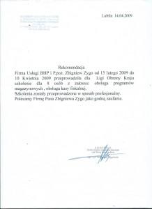 Rekomendacja Ligi Obrony Kraju Stowarzyszenie