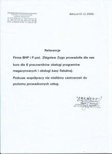 """Referencje firmy PPHUiG """"JOLSTEF"""" z Bełżyc"""
