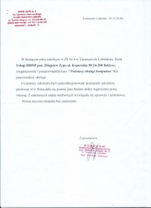 Referencje Zespół Szkół Nr 4 im. Jarosława Dąbrowskiego w Tomaszowie Lubelskim